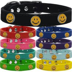 Dog Collars: Cool Dog Collars with Cute HAPPY FACE Widgets Genuine Leather Dog Collar in Different Colors and Sizes by Mirage USA