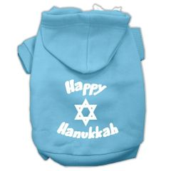 Dog Hoodies: HAPPY HANUKKAH Screen Print Dog Hoodie in Various Colors & Sizes by MiragePetProducts