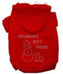 Dog Hoodies: Rhinestone SNOWMAN'S BEST FRIEND Dog Hoodie by Mirage Pet Products USA