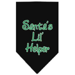 Dog Bandanas: Screen Print Cotton Dog Bandana 'SANTA'S LIL HELPER' Different Colors in Small or Large by Mirage USA