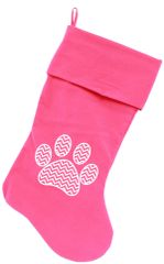 "Dog Christmas Stockings: Screen Print CHEVRON PAW Christmas 18"" Stocking for Dogs in Several Colors"