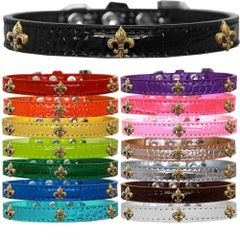 Dog Collars: Cute Dog Collars with Cute BRONZE FLEUR DE LIS Widgets on Croc Dog Collar in Different Colors & Sizes USA