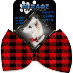 DOG BOW TIE: Decorative & Classy Silky Polyester Bow Tie for Dogs - RED BUFFALO CHECK