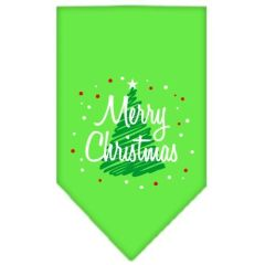 Dog Bandanas: Screen Print Cotton Dog Bandana 'SCRIBBLE MERRY CHRISTMAS' Different Colors in Small or Large by Mirage USA