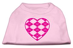 Dog Shirts: ARGYLE HEART PINK Screen Print Dog Shirt in Various Colors & Sizes by Mirage