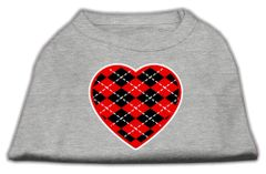 Dog Shirts: ARGYLE HEART RED Screen Print Dog Shirt in Various Colors & Sizes by Mirage