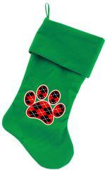 Dog Christmas Stockings: Argyle Red Paw Christmas Dog Stocking