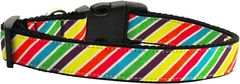 Dog Collars: Nylon Ribbon Collar by Mirage Pet Products USA - STRIPED RAINBOW