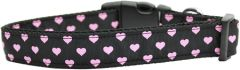 Dog Collars: Nylon Ribbon Collar by Mirage Pet Products USA - PINK & BLACK DOTTY HEARTS