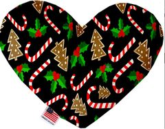 PET TOYS: Soft Velvety Fabric Heart Shape Pet Toy - CANDY CANE in Two Patterns/Two Sizes Made in USA by MiragePetProducts