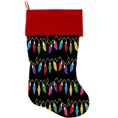 "DOG CHRISTMAS STOCKING: High Quality Velvet 18"" Long Christmas Dog Stocking - DIGITAL CHRISTMAS LIGHTS"