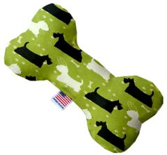 PET TOYS: Stuffing Free Plush Bone Shape Pet Toy with Squeakers SCOTTIE AND WESTIE in 3 Sizes Made in USA by MiragePetProducts