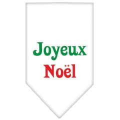 Dog Bandanas: Screen Print Cotton Dog Bandana 'JOYEUX NOEL' Different Colors in Small or Large by Mirage USA