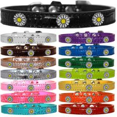 Dog Collars: Cute Dog Collars with Cute WHITE DAISY Widgets on Croc Dog Collar in Different Colors & Sizes USA