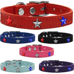 Dog Collars: Cool Dog Collars with Cute STARS Widgets Genuine Leather Dog Collar in Different Colors and Sizes by Mirage Made in USA