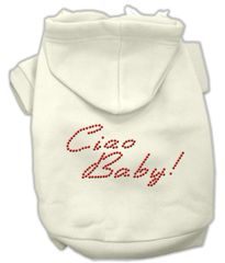 Dog Hoodies: Cute Rhinestone CIAO BABY! Dog Hoodie by Mirage Pet Products USA