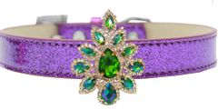 BLING DOG COLLARS: Golden Collection Emerald Green Sofia on Ice Cream Dog Collar 5 Sizes/3 Colors by MiragePetProducts