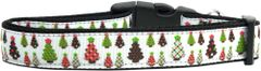 Holiday Dog Collars: Nylon Ribbon Dog Collar USA - DESIGNER CHRISTMAS TREES