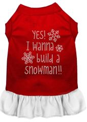 DOG DRESSES: Rhinestone Dress YES I WANT TO BUILD A SNOWMAN Poly/Cotton with Ruffle Trim Various Colors & Sizes by Mirage