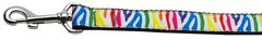Nylon Dog Leashes: Zebra Rainbow Ribbon Nylon Dog Leash Mirage Pet Products USA
