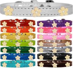 Dog Collars: Faux Croc Dog Collar with GOLD FLOWERS Widgets in Different Colors & Sizes Made in USA by MiragePetProducts
