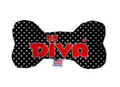 PET TOYS: Durable Fluffy Fabric Bone Shape Pet Toy DIVA in 3 Sizes Made in USA by MiragePetProducts