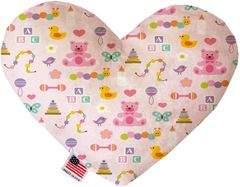 PET TOYS: Soft Velvety Fabric Heart Shape Pet Toy BABY GIRL in Two Sizes Made in USA by MiragePetProducts