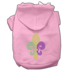 Dog Hoodies: Rhinestone MARDI GRAS FLEUR de LIS Dog Hoodie by Mirage Pet Products USA