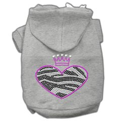 Dog Hoodies: ZEBRA HEART Rhinestone Dog Hoodie by Mirage Pet Products USA