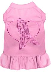 DOG DRESSES: Rhinestone Dress PINK RIBBON Poly/Cotton with Ruffle Trim Various Colors & Sizes by Mirage
