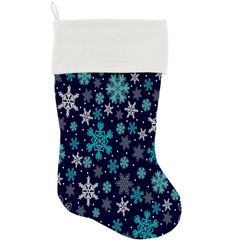 "DOG CHRISTMAS STOCKING: High Quality Velvet 18"" Long Christmas Dog Stocking - SNOWFLAKES BLUES"