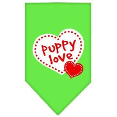 Dog Bandanas: Screen Print Cotton Dog Bandana 'PUPPY LOVE' Different Colors in Small or Large by Mirage USA