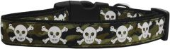 Holiday Dog Collars: Nylon Ribbon Dog Collar Mirage Pet Products USA - CAMO SKULLS