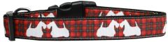 Nylon Dog Collars: Dog Collar by Mirage Pet Products USA -RED PLAID SCOTTIE PUPS