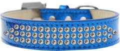 BLING DOG COLLARS: Dog Collar Various Sizes & Colors -THREE ROWS CLEAR CRYSTALS/ ICE CREAM COLLAR