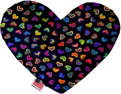 PET TOYS: Soft Velvety Fabric Heart Shape Pet Toy BRIGHT HEARTS in Two Sizes Made in USA by MiragePetProducts