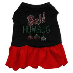 DOG DRESSES: Rhinestone Dress BAH HUMBUG Poly/Cotton with Ruffle Trim in Two tone Colors and in Various Sizes by Mirage