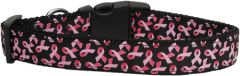 Dog Collars: Nylon Ribbon Collar by Mirage Pet Products - PINK RIBBONS ON BLACK