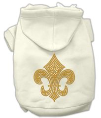 Dog Hoodies: Rhinestones GOLD FLEUR DE LIS design Dog Hoodie by Mirage Pet Products USA