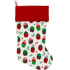 "DOG CHRISTMAS STOCKING: High Quality Velvet 18"" Long Christmas Dog Stocking - CHRISTMAS CUPCAKES"
