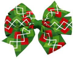 Dog Hair Accessories: Hair Bow CHRISTMAS ARGYLE with choice of Alligator Clip or French Barrette for dogs by Mirage