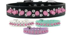 "Spike Dog Collars: Beautiful Double 3/4"" Collar Clear Crystals & Lt. Pink Spikes Mirage Pet Products"