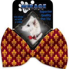 DOG BOW TIE: Decorative & Classy Silky Polyester Bow Tie for Dogs - MAROON FLEUR DE LIS