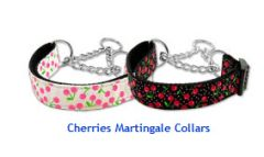 Martingale Dog Collars: CHERRIES Nylon Ribbon Dog Collar Mirage Pet Products USA
