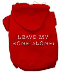 Dog Hoodies: LEAVE MY BONE ALONE Rhinestone Dog Hoodie by Mirage Pet Products USA