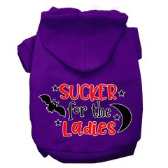 Dog Hoodies: SUCKER FOR THE LAIDES Screen Print Dog Hoodie in Various Colors & Sizes by MiragePetProducts