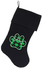 Dog Christmas Stockings: ARGYLE GREEN PAW Christmas Stocking for Dogs in Various Colors