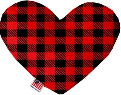 PET TOYS: Soft Velvety Fabric Heart Shape Pet Toy - BUFFALO CHECK in 2 Patterns/2 Sizes Made in USA by MiragePetProducts