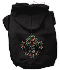 Dog Hoodies: HOLIDAY FLEUR de LIS Rhinestone Dog Hoodie by Mirage Pet Products USA