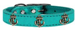 Dog Collars: METALLIC Leather Dog Collar in Different Colors and Sizes with BRONZE ANCHOR Widgets by Mirage USA
